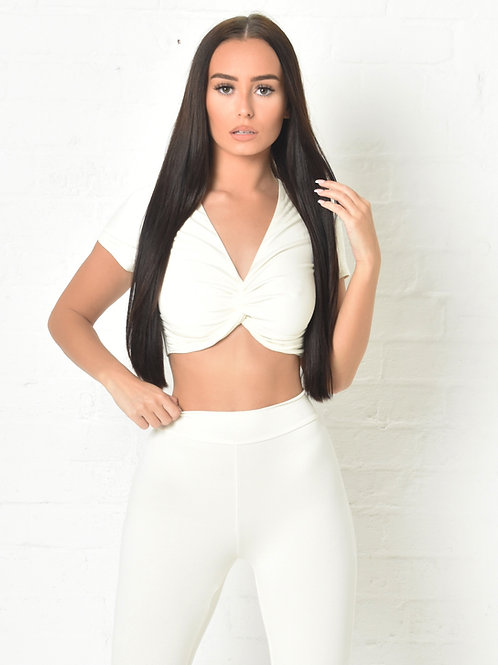 Carly Crop T-Shirt in Ivory
