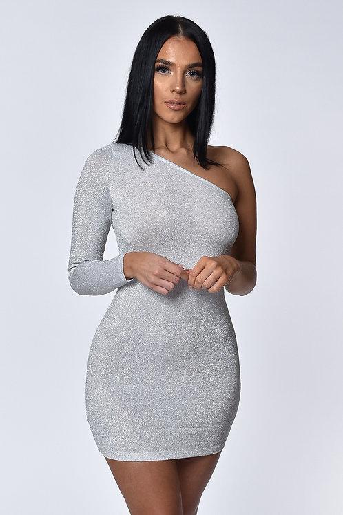Aria White Shimmer One Shoulder Mini Dress