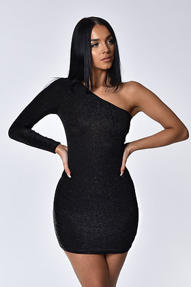 Aria Black Shimmer One Shoulder Mini Dress