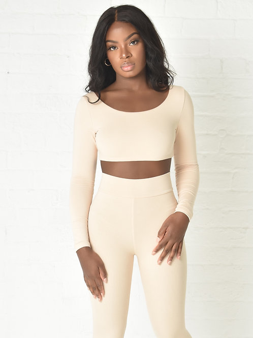 Marley Long Sleeved Crop Top in Cream