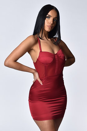 Taylor Dark Red Satin Mini Dress
