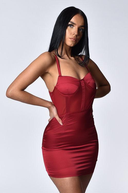 Taylor Dark Red Satin Mini Dress