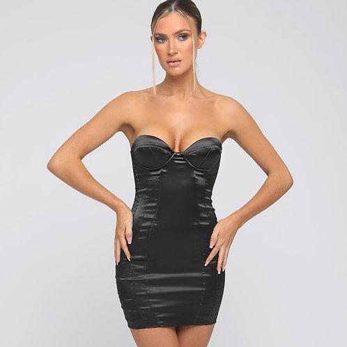 Carmel Satin Strapless Dress in Black