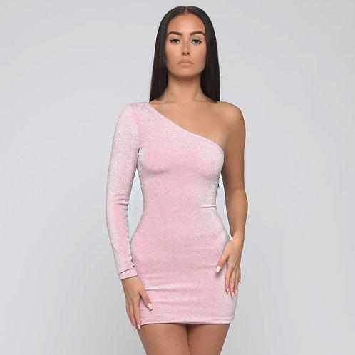 Lila One Shoulder Shimmer Dress in Pink