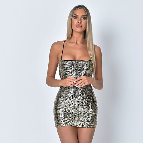 Giselle Sequin Tie Back Dress in Gold
