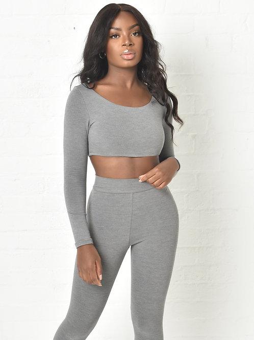 Marley Long Sleeved Crop Top in Grey