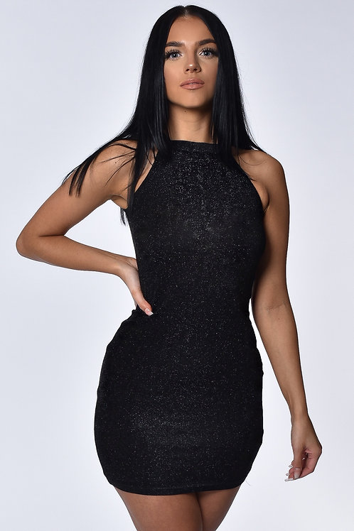 Ivy Black Shimmer Mini Dress