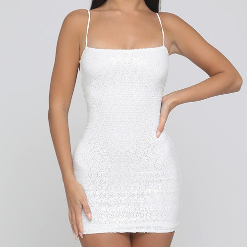 Giselle Sequin Tie Back Dress in White