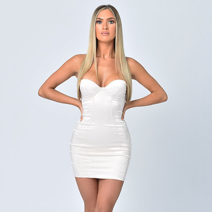 Carmel Satin Strapless Dress in Cream