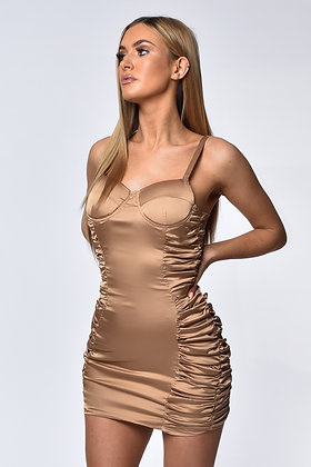 Gabriella Nude Satin Ruched Mini Dress
