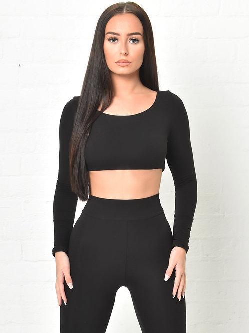 Marley Long Sleeved Crop Top in Black