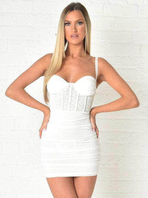 Aurelia Mesh Dress in White