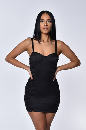 Gabriella Black Satin Ruched Mini Dress