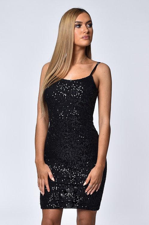 Jasmine Black Sequin Midi Dress