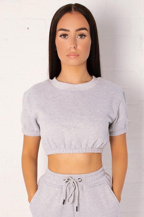 Lucille Fleece Crop Top in Mid Grey