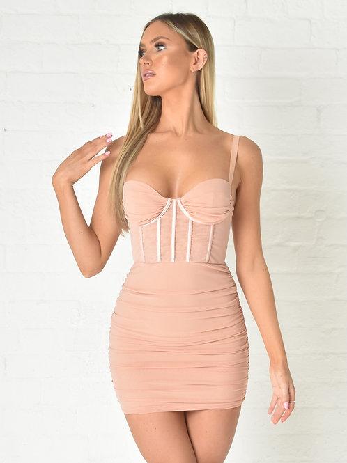Aurelia Mesh Dress in Blush Nude