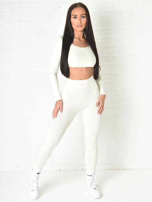 Marley Ruched Leggings in Ivory