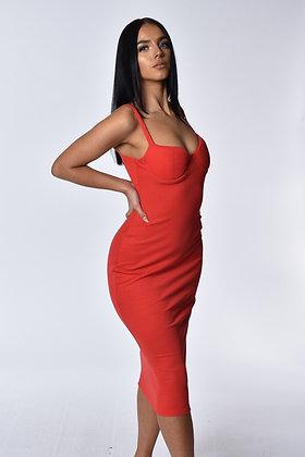 Alana Red Ribbed Midi Dress