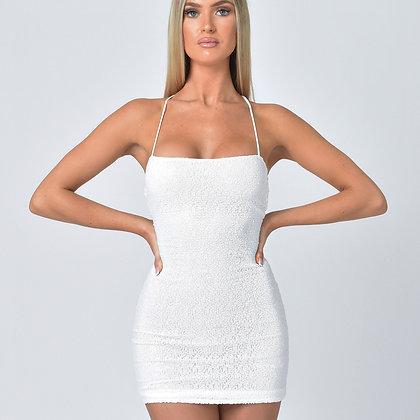 Giselle Sequin Tie Back Dress in White