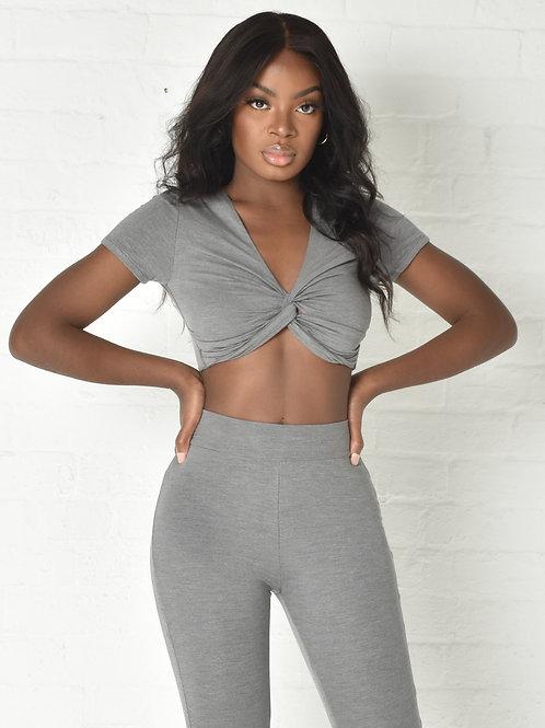 Carly Crop T-Shirt in Grey