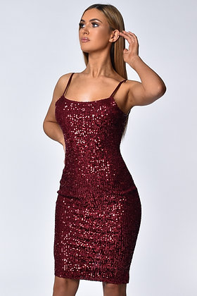 Jasmine Dark Red Sequin Midi Dress