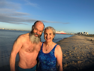Phil prepares for the start of his 3200km Walk from Melbourne to the Gulf of Carpentaria with a swim