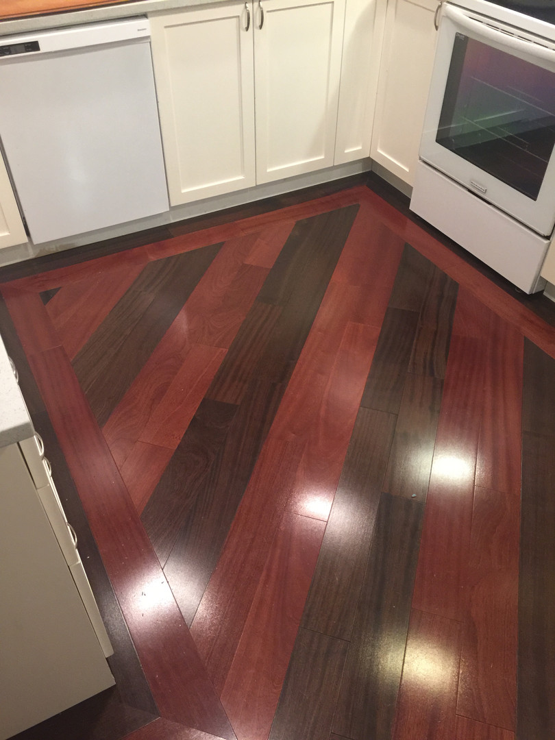 custom flooring on angle with borders