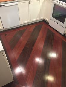 custom flooring on angle with borders