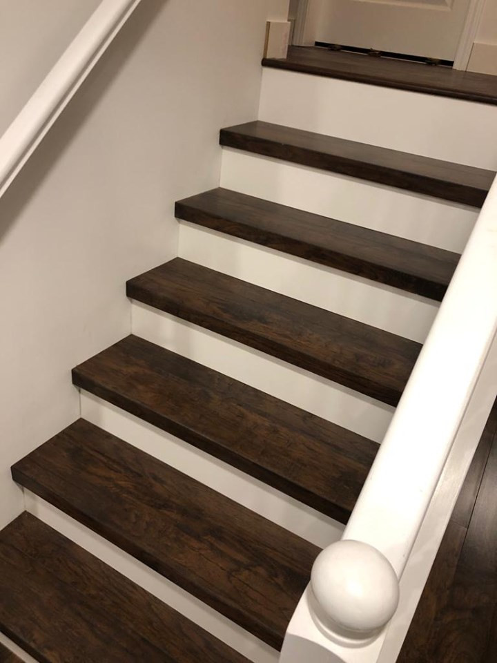Dark Wood Steps White risers