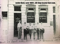 Old Picture of Leckie Block in front of