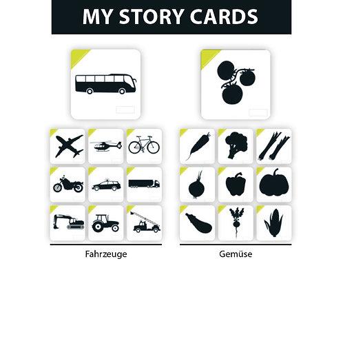 MY STORY ERWEITERUNGSSET FAHRZEUGE/GEMÜSE - Premium Lernkarten