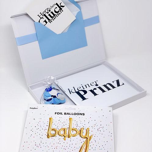 """babyBOX 22 / """"Kleiner Prinz"""" mit Folienballon """"Baby"""" in Gold"""