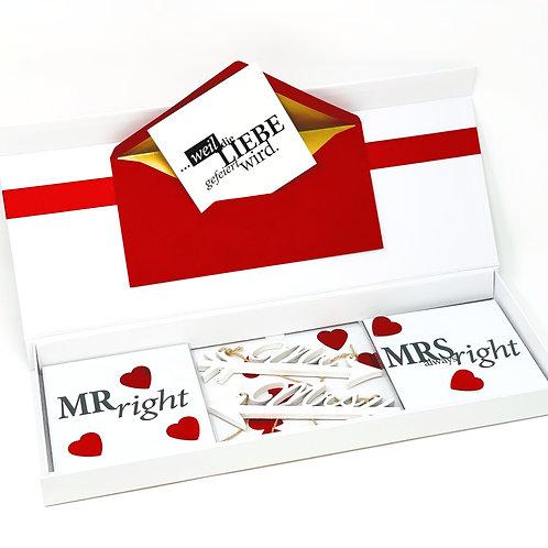 hochzeitsBOX 3 / Holzanhänger MRS & MR