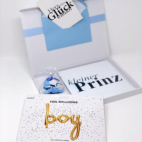 """babyBOX 23 / """"Kleiner Prinz"""" mit Folienballon """"Boy"""" in Gold"""