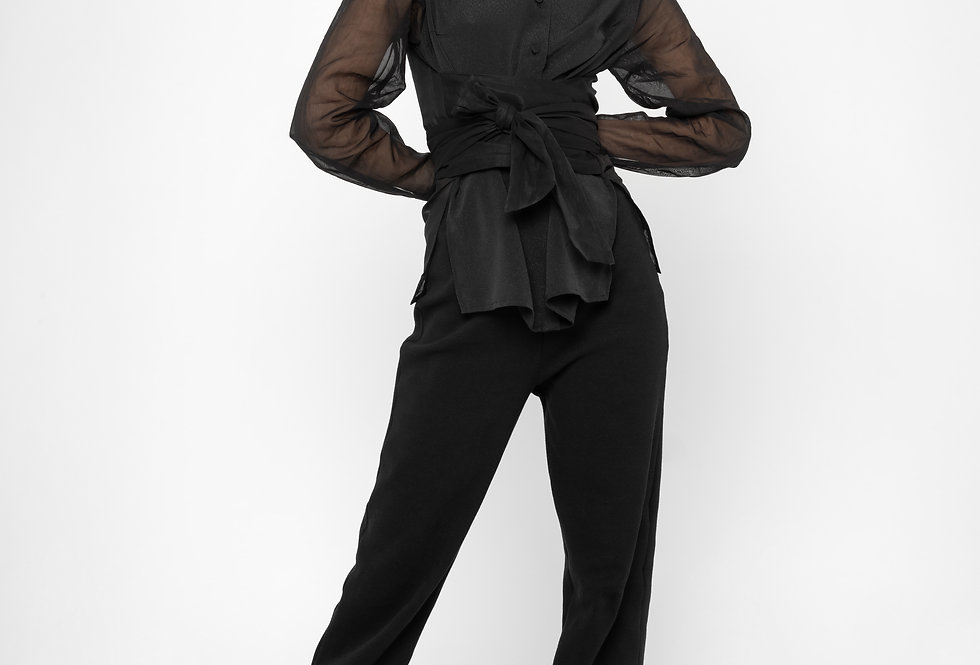 AKIRA WRAP SEETHROUGH BLOUSE