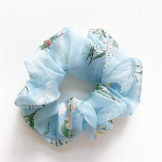 SHEER FLORAL BLUE SCRUNCHIE