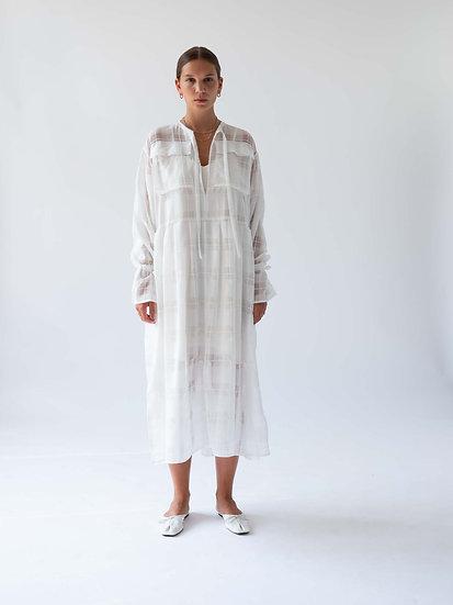 CHECK OVERSIZED SHEER DRESS