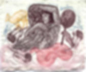 a dream, sewn relief prints and thread o