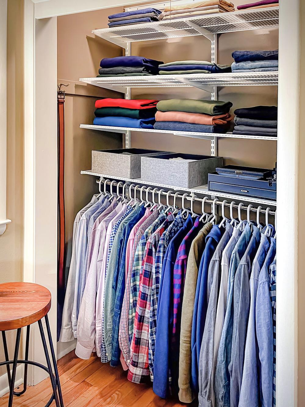 men's clothing reach-in closet using the elfa system