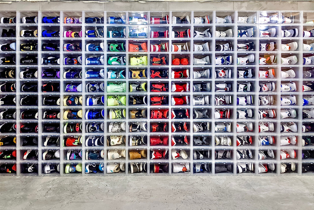 Rainbow wall of shoes!