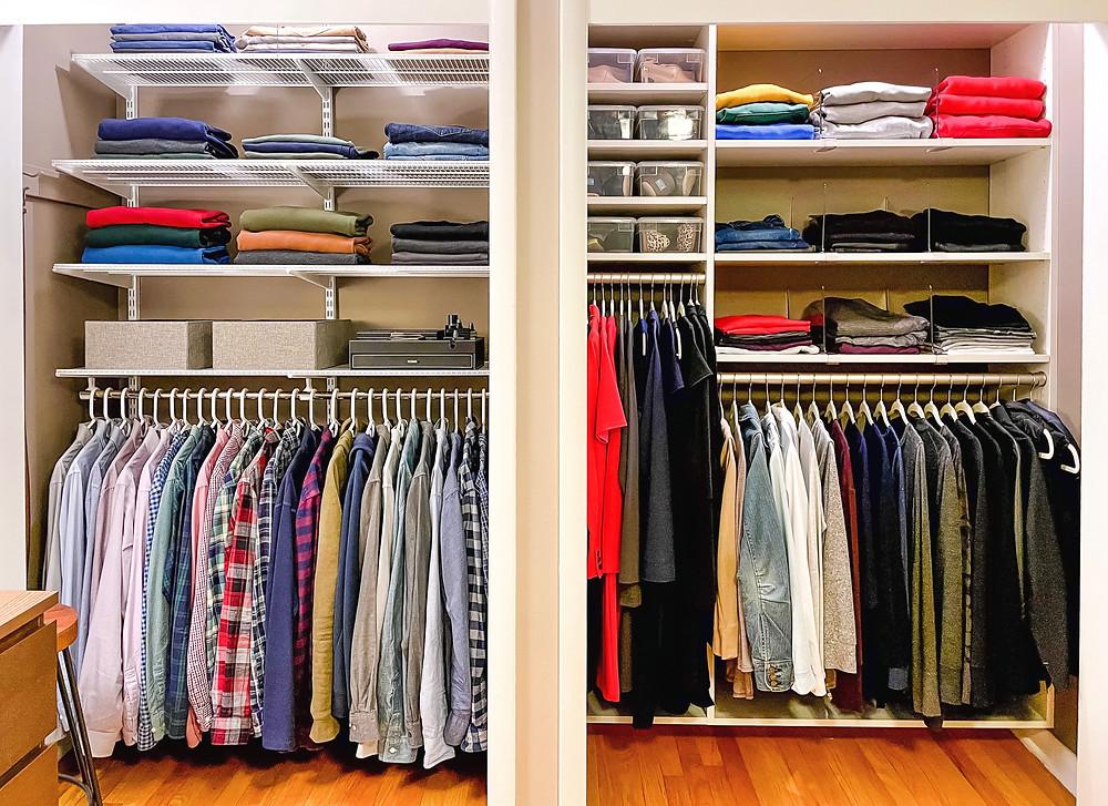 Husband Erik loves his elfa closet system on the left.