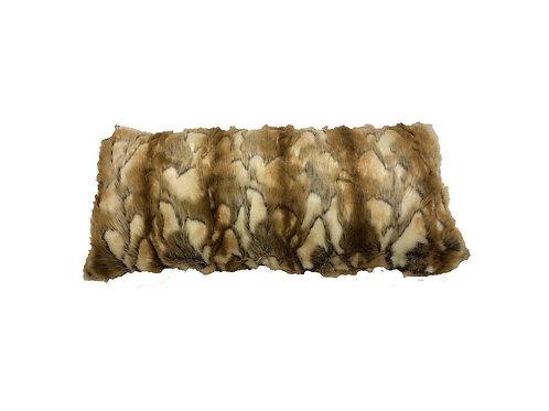 "Brandy Fox Fur Lumbar Pillow [QTY 2, 34"" x 14""]"