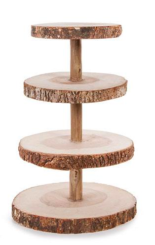 Rustic Wood 4-Tier Stand