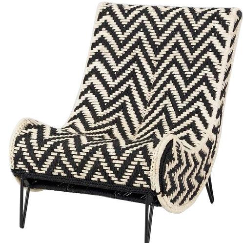 "Black and White Chevron Chair [QTY 5, 33""H x 26""W x 31""D]"