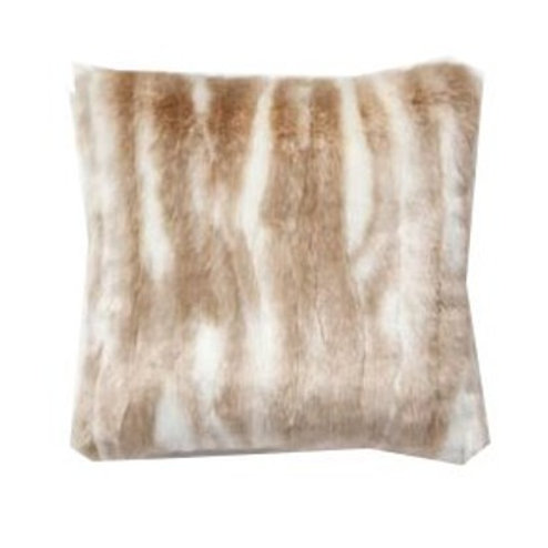"""Brown and White Faux Fur Pillow [QTY 8, 18"""" x 18""""]"""