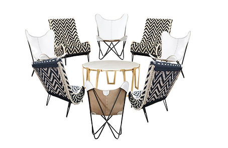 White Butterfly Chairs, Chevron Chairs,