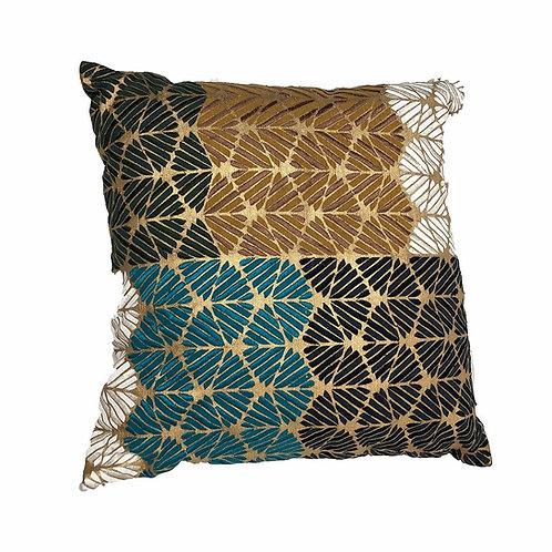 "Modern White, Black, Turquoise & Gold Print Pillow[QTY 4, 16"" x 16""]"