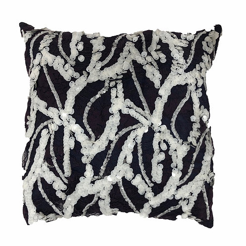 "Navy and White Sequin Pillow [QTY 4, 14"" x 14""]"