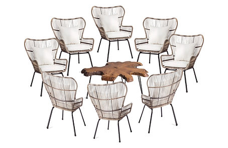 Wicker Chairs - Live Edge Coffe Table.jp