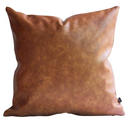 "Faux Leather Pillow [QTY 4 of each, Small - 16"" x 16""  Medium - 20"" x 20""]"